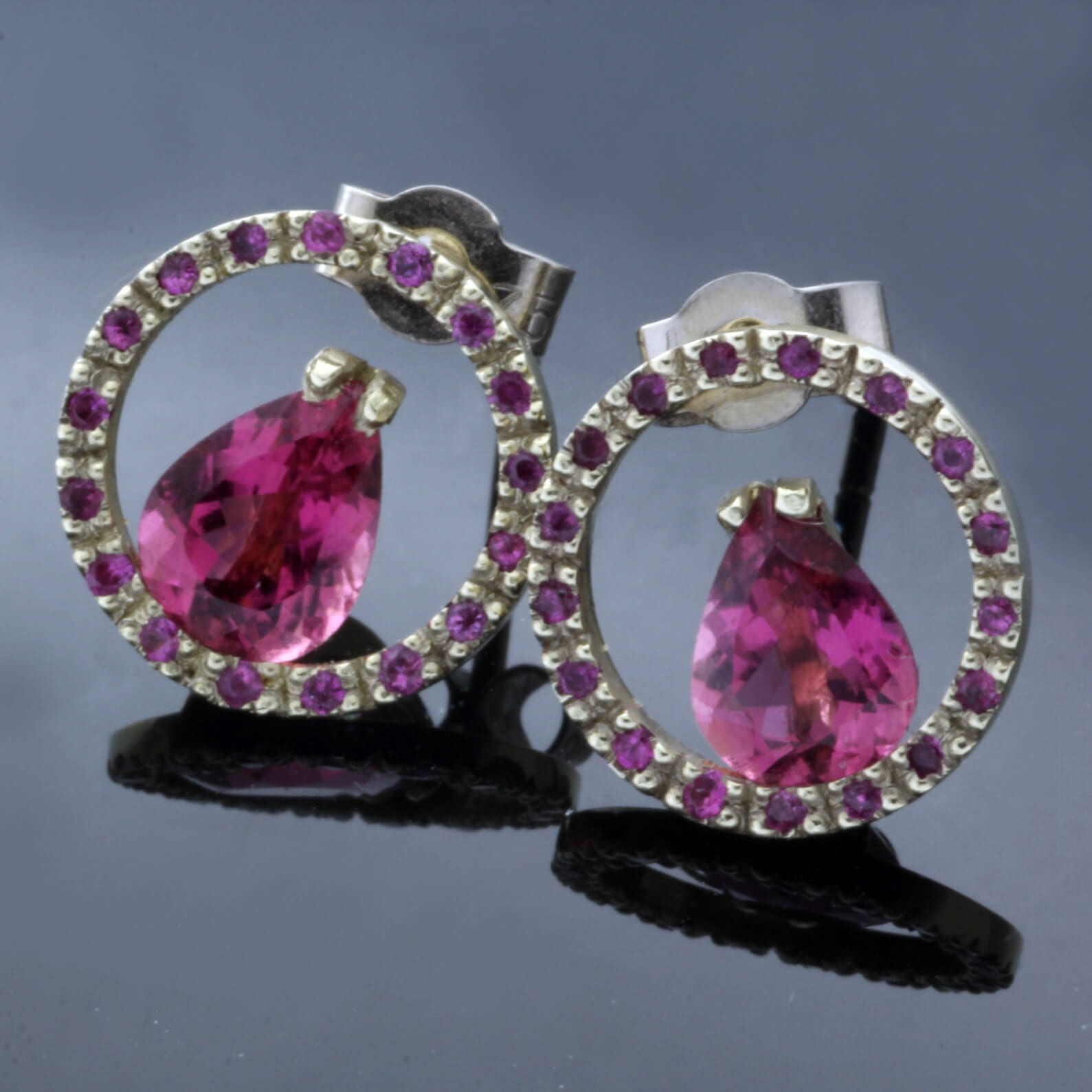 Pear cut Pink Tourmaline Pink sapphire White Gold contemporary stud earrings
