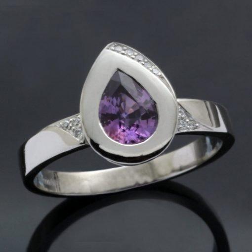 Pear cut Purple Sapphire gem solid Platinum stylish modern statement ring