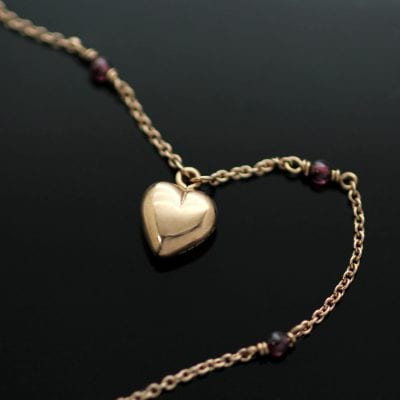 Handmade Rose Gold Heart charm Garnet beaded Rose Gold necklace