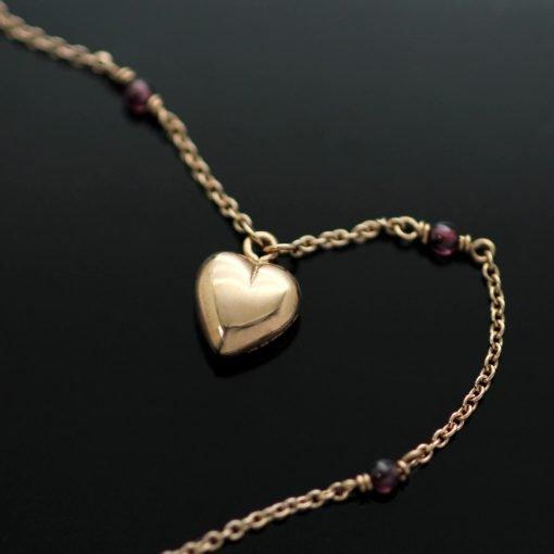 Handmade Rose Gold Heart charm Garnet beaded Rose Gold necklace