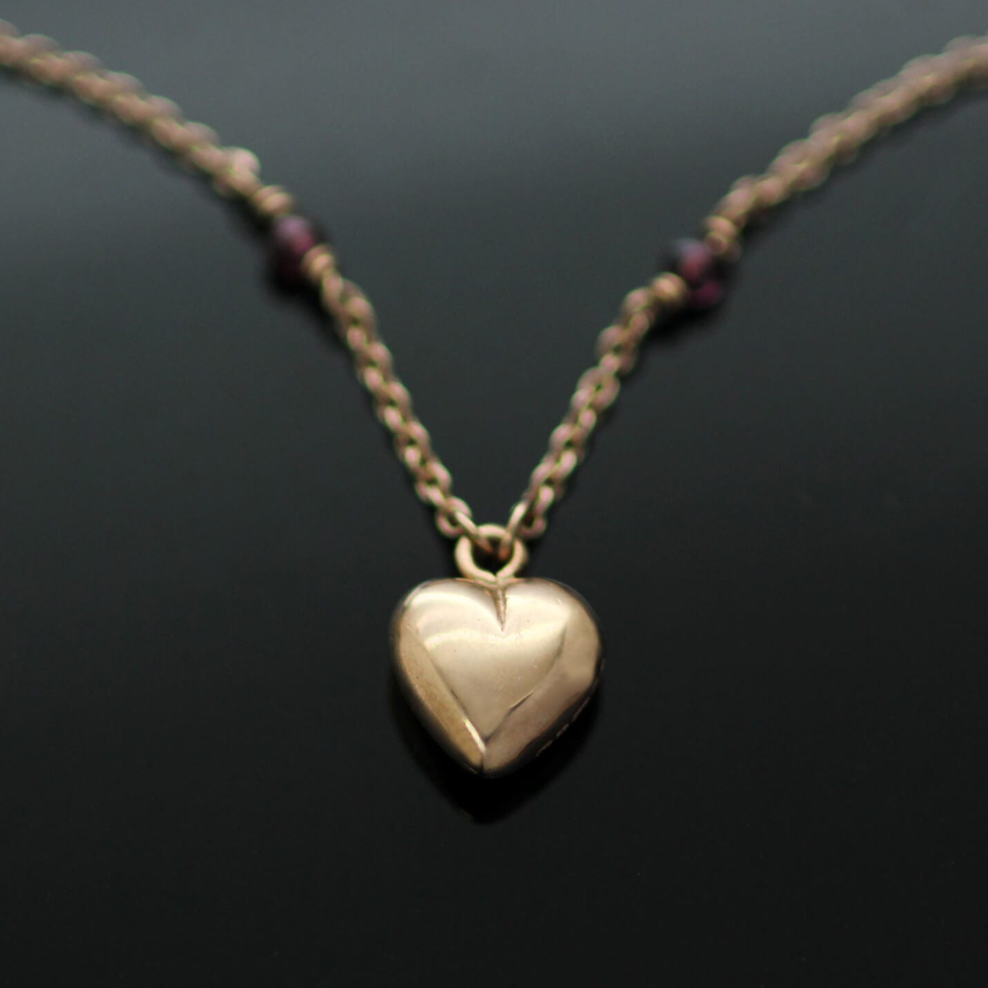 Solid Rose Gold necklace handmade Heart pendant Garnet gemstone beads