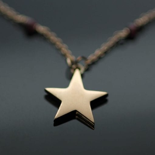 Rose Gold Garnet gemstone beads Star pendant