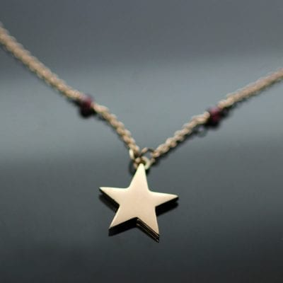 Modern Rose Gold Star charm Garnet beaded contemporary pendant