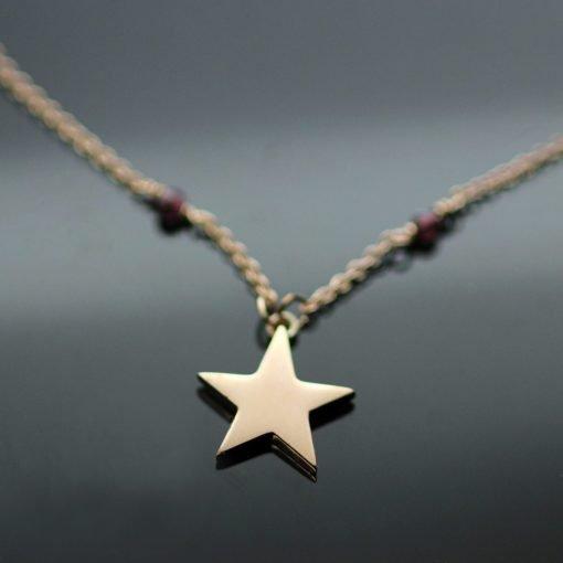 Modern Rose Gold Star charm Garnet beaded contemporary pendant