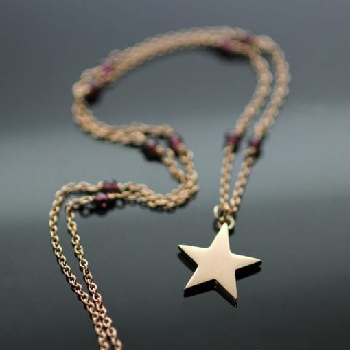 Solid 18ct Rose Gold Star pendant Garnet beaded modern necklace