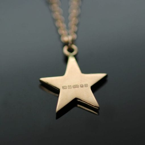 Hallmarked 9ct Rose Gold Star charm Garnet bead necklace