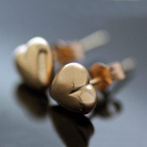 Handmade solid Rose Gold modern Heart stud earrings