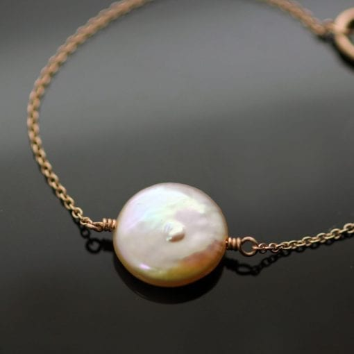Blush Pink natural Pearl handcrafted 9ct Rose Gold bracelet