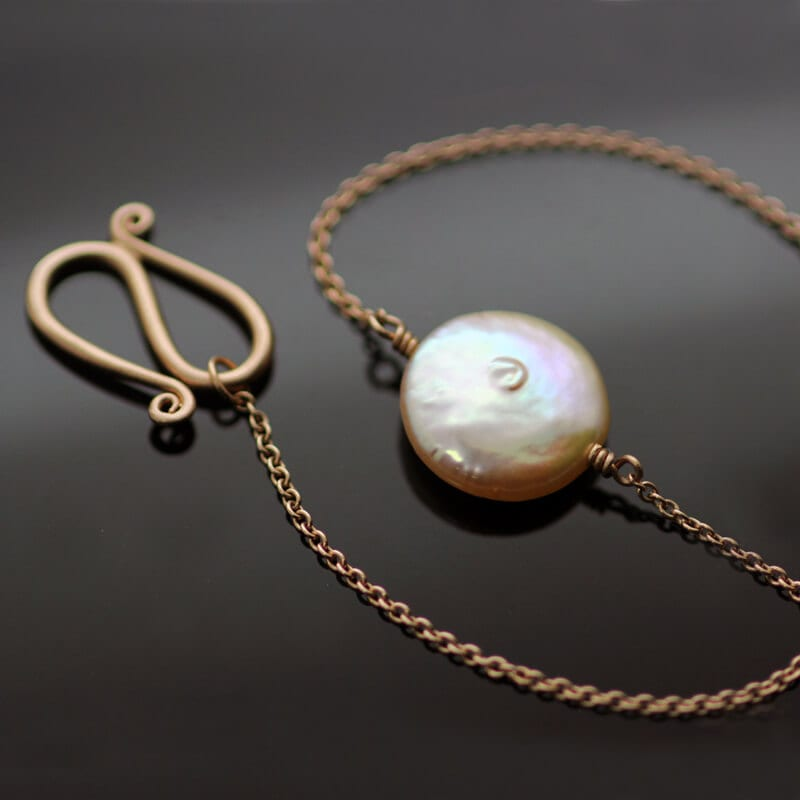 Rose gold bracelet handmade nude pink button pearl