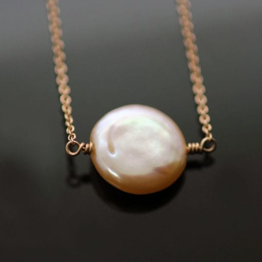 Rose Gold blush pink Pearl modern handmade necklace