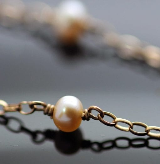 Rosie contemporary natural Pearl necklace 9ct Rose Gold