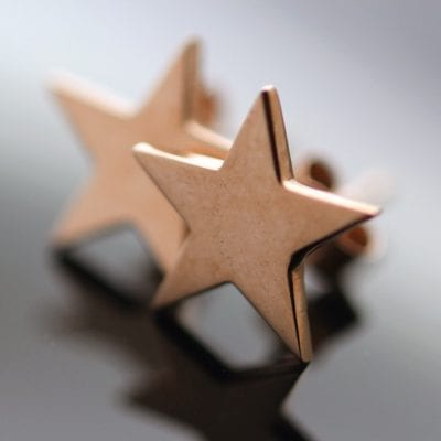 Handmade solid 9ct Rose Gold modern star charm stud earrings