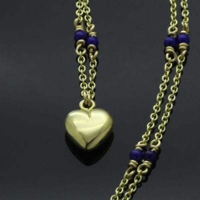 Contemporary solid handmade Yellow Gold Heart charm necklace with Lapis beads