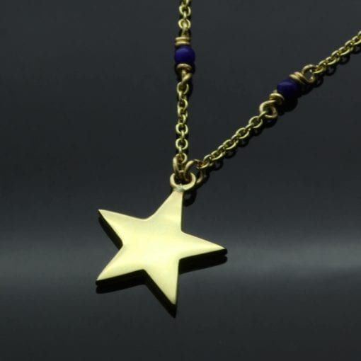 Contemporary solid handmade Yellow Gold Star charm necklace with Lapis beads