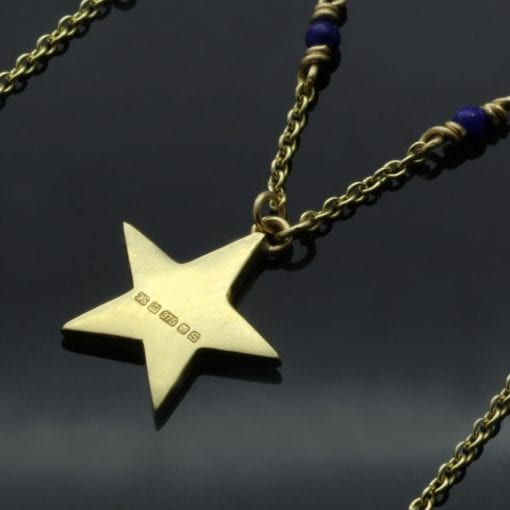 Solid 18ct Yellow Gold necklace Lapis Lazuli beads gold star charm