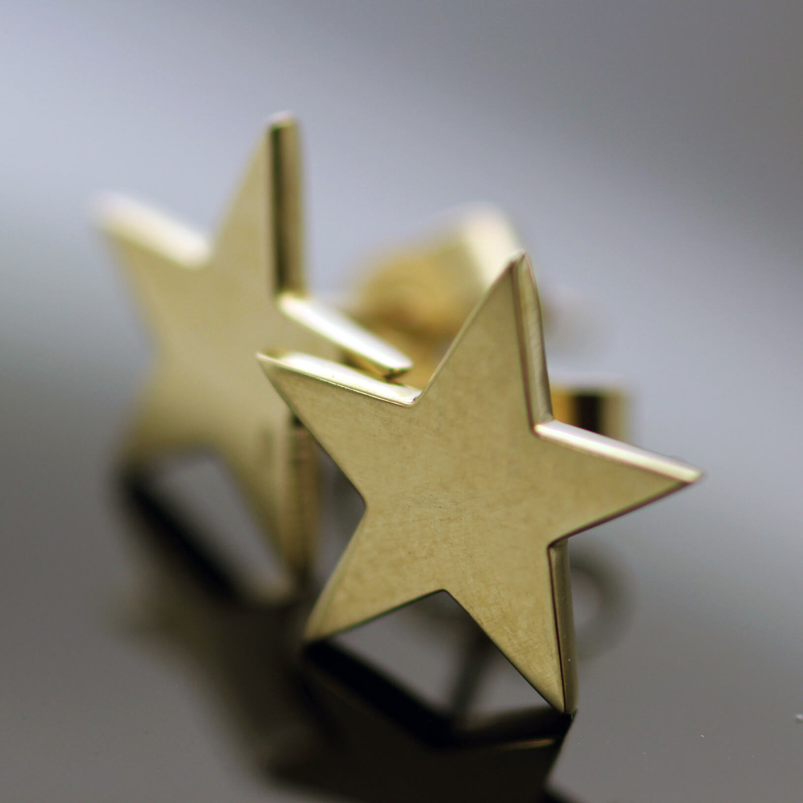 Modern solid 9ct Yellow Gold Star charm stud earrings