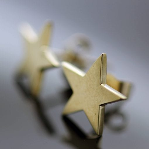 Handmade modern Yellow Gold Star stud earrings