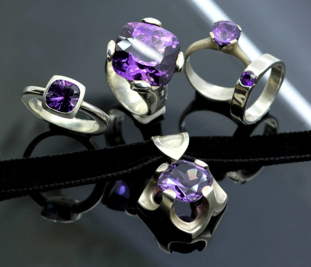 Modern Amethyst February Birthstone gemstones statement jewellery