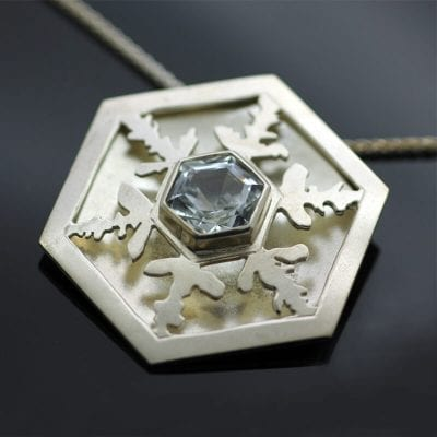 Handcrafted Aquamarine gem Sterling Silver layered hand pierced snowflake necklace