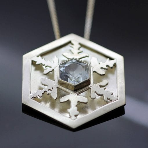 Sterling Silver handmade unique snowflake pendant Aquamarine gemstone contemporary necklace