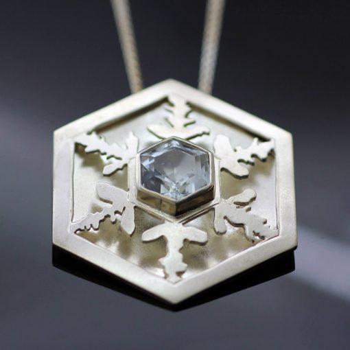 Sterling Silver handmade unique snowflake pendant Aquamarine gemstone contemporary necklace