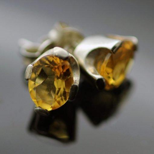 Oval cut Citrine sterling silver gemstone stud earrings