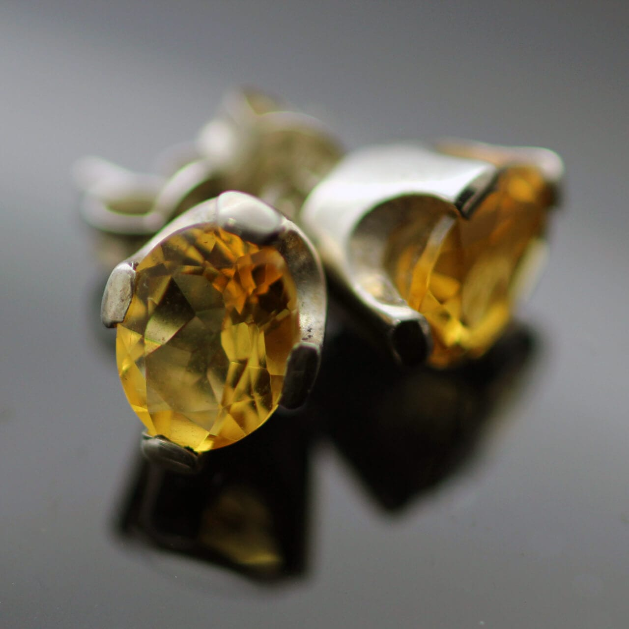 Oval cut Citrine sterling silver gemstone stud earrings