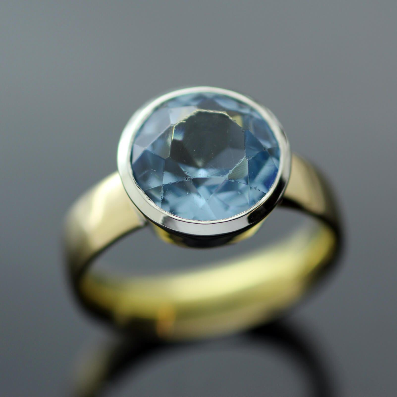 Handmade Yellow Gold Blue Topaz gemstone ring