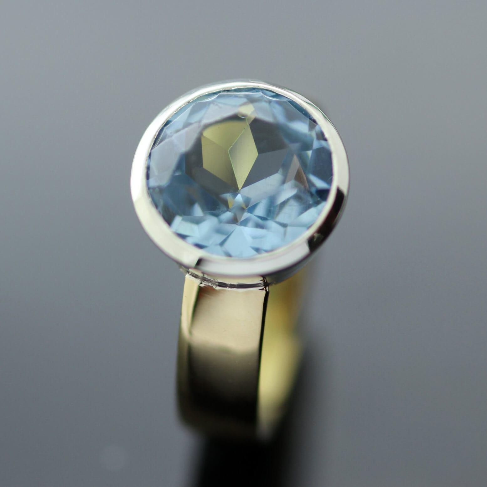 Bespoke handmade cocktail ring with Blue Topaz gemstone