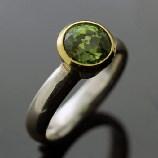 Peridot round brilliant cut modern statement Yellow Gold Sterling Silver ring