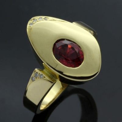 Handmade Yellow Gold Red Spinel Diamonds cocktail ring