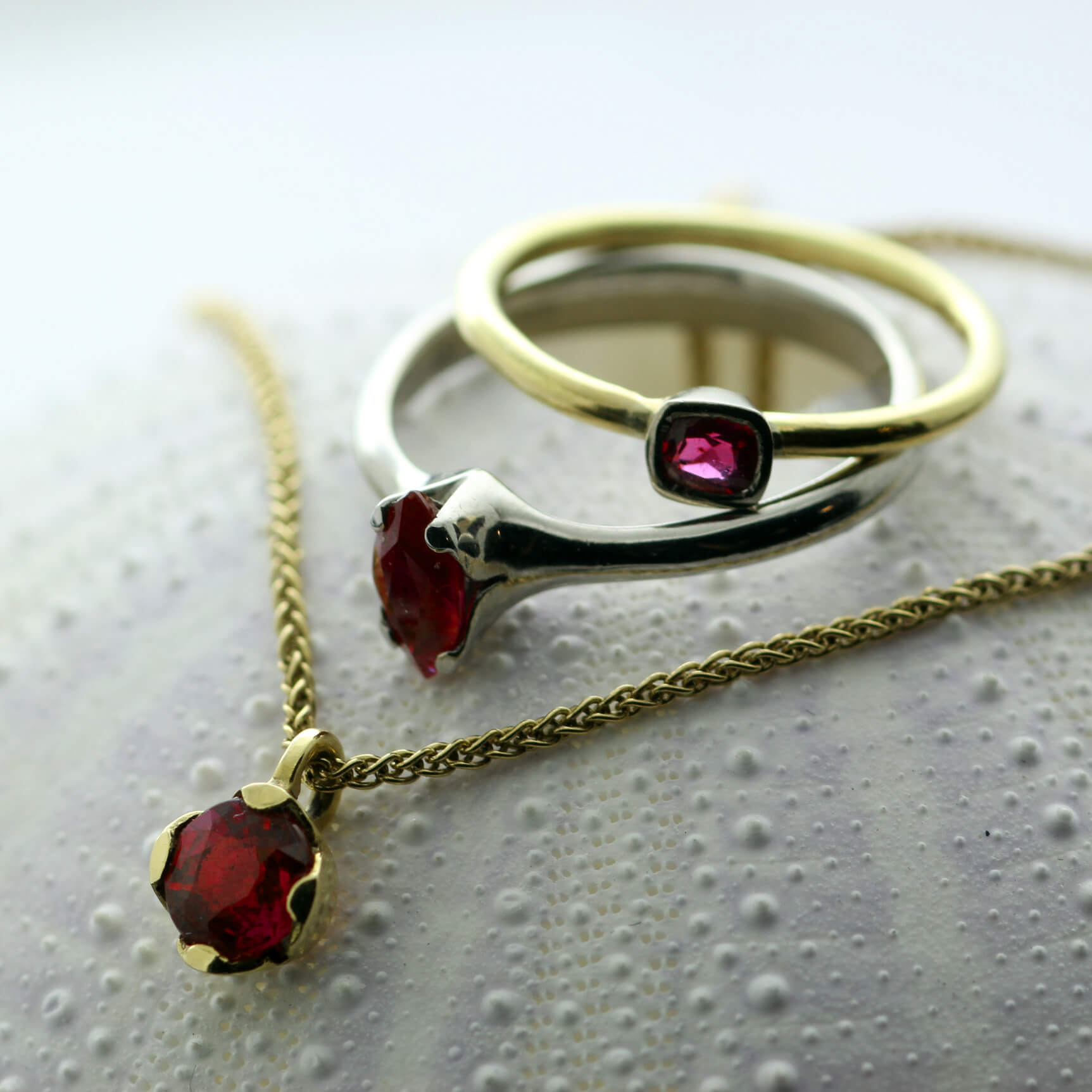 Ruby birthstone jewellery handmade by Julian Stephens Goldsmith