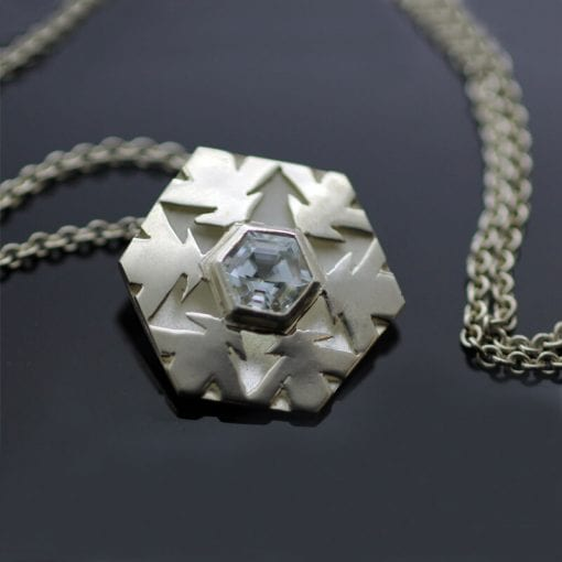 Handmade Sterling Silver Aquamarine snowflake contemporary necklace