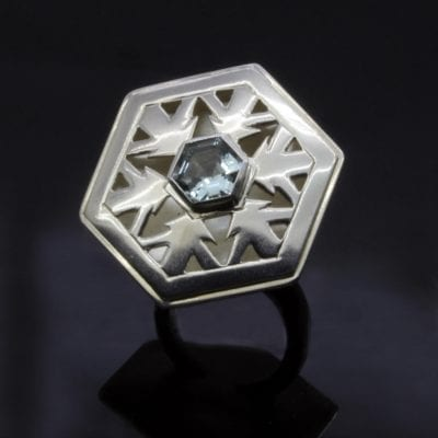 Unique snowflake cocktail ring hand pierced Silver design Aquamarine gemstone