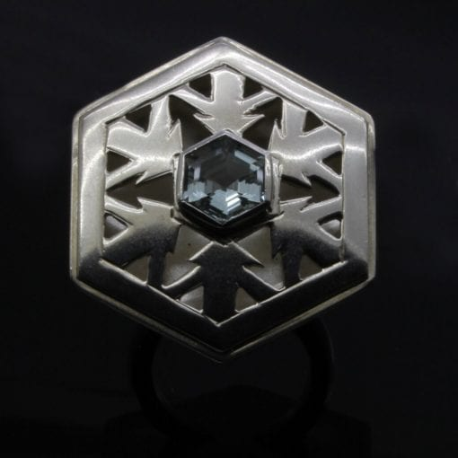 Silver Aquamarine gemstone dress ring handmade snowflake design