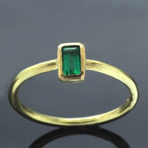 Baguette cut Emerald gemstone 18ct Yellow Gold modern stacking ring