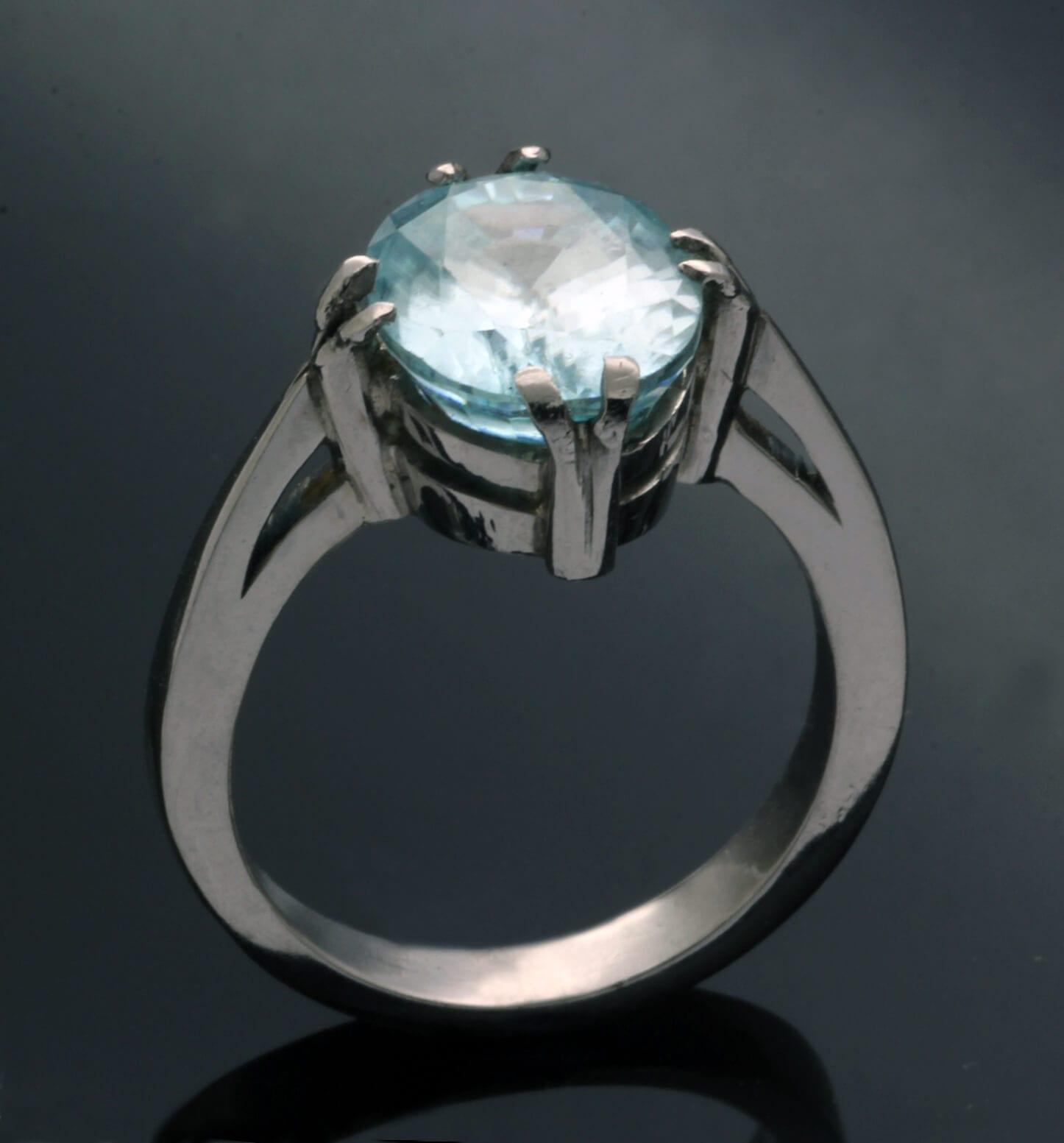 Palladium statement ring with Zircon gemstone handcrafted
