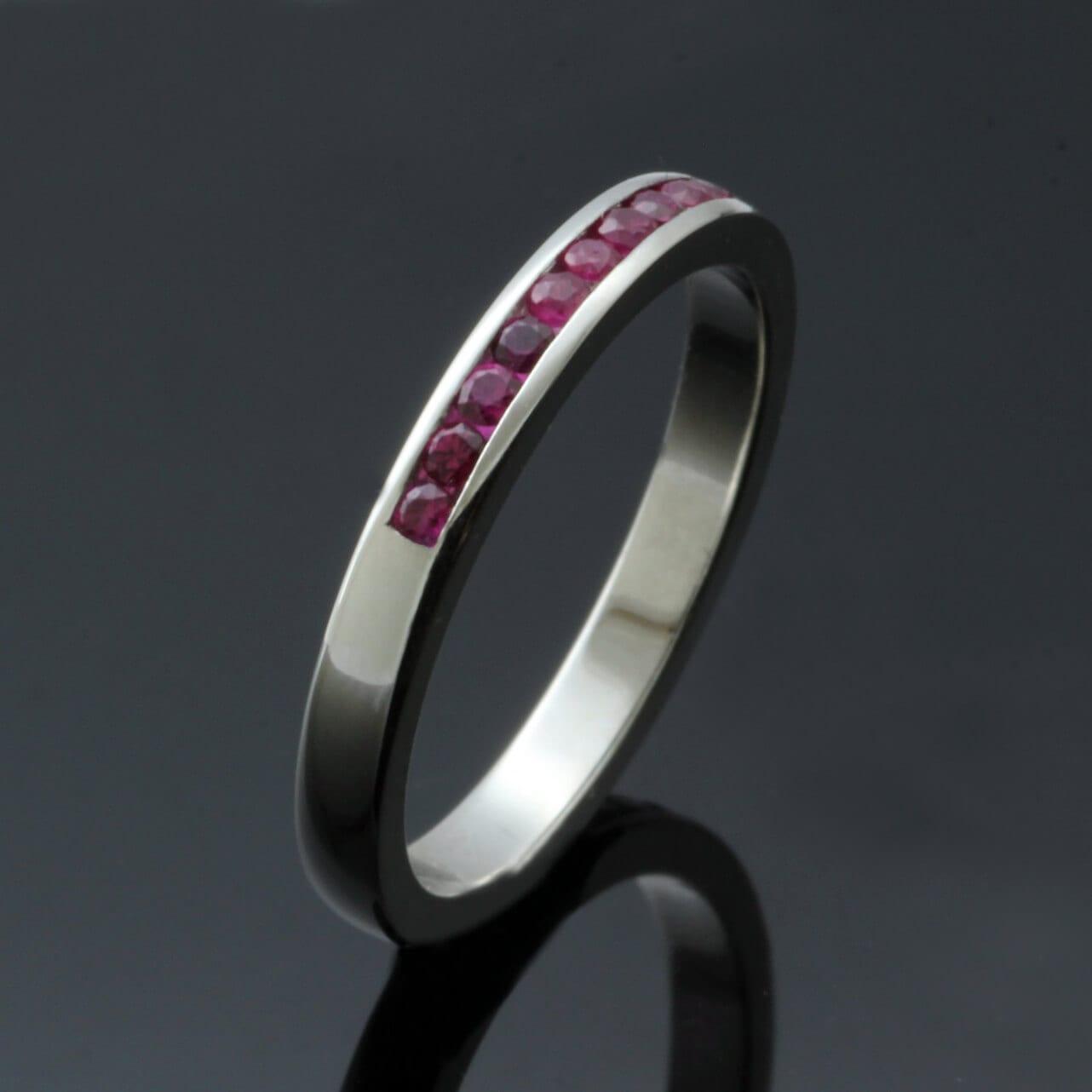 Ruby gemstone platinum bespoke eternity ring