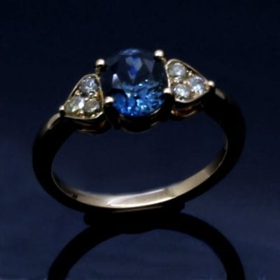 Bespoke Cornflour Blue Sapphire with Diamonds engagement ring