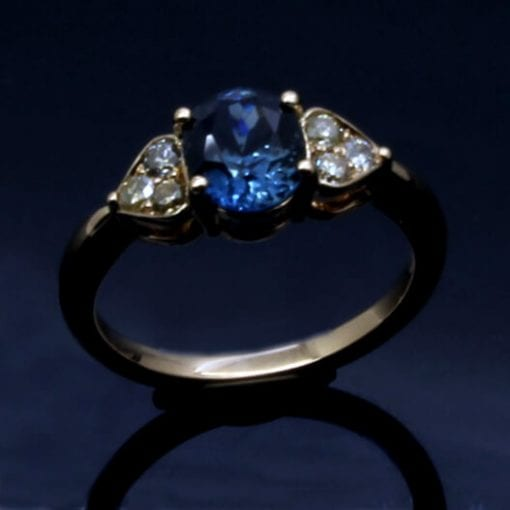 Bespoke Cornflour Blue Sapphire with Diamonds engagement ring