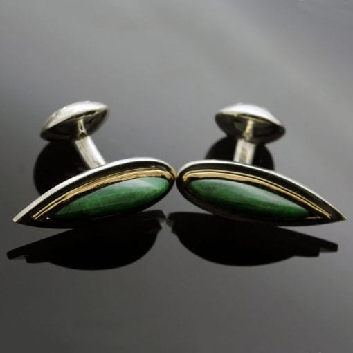 Jade Yellow Gold modern handcrafted cufflinks