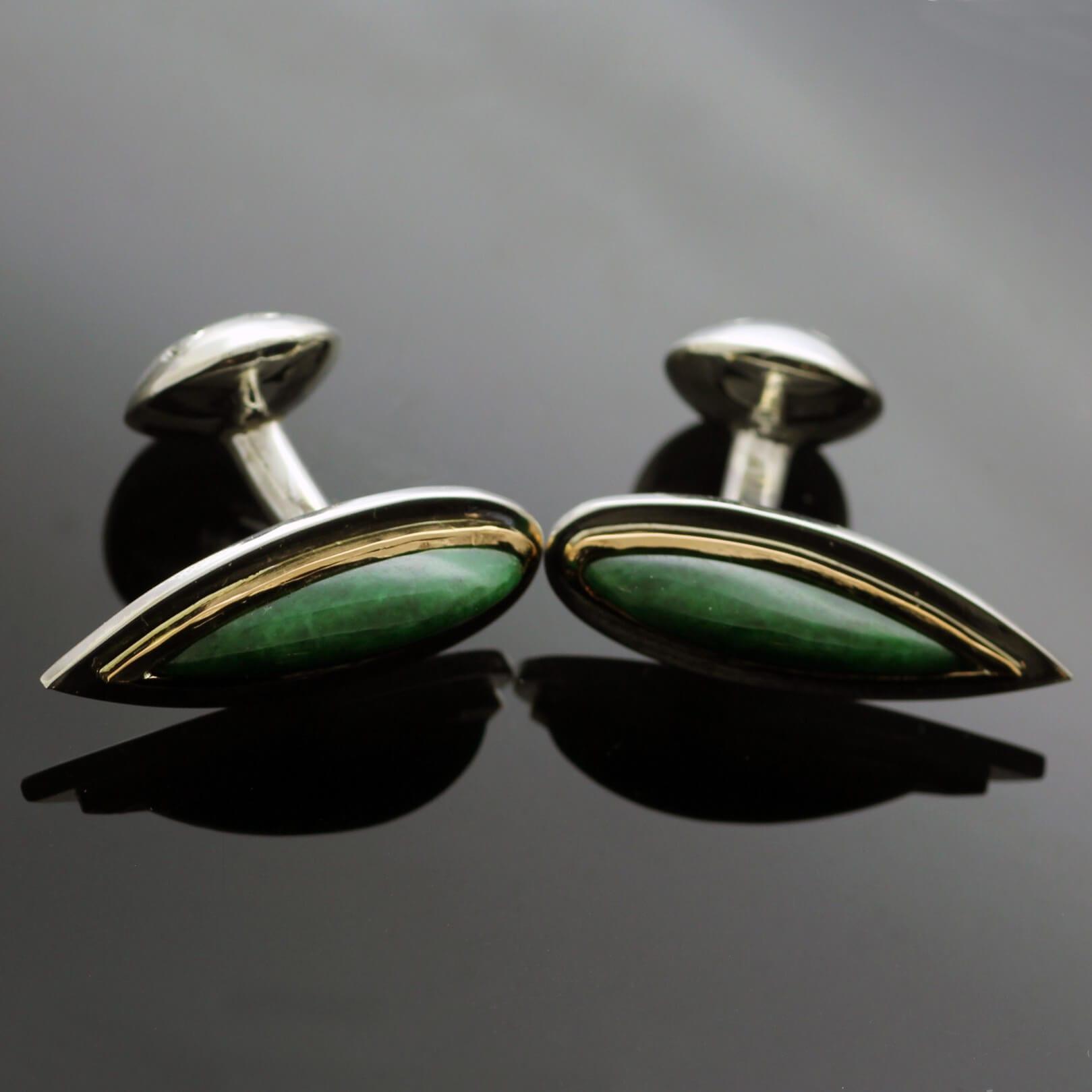 Jade Yellow Gold modern handcrafted cufflinks