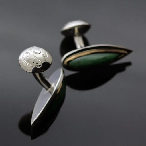 Personalised hand engraved bespoke Jade cufflinks by Julian Stephens Goldsmith
