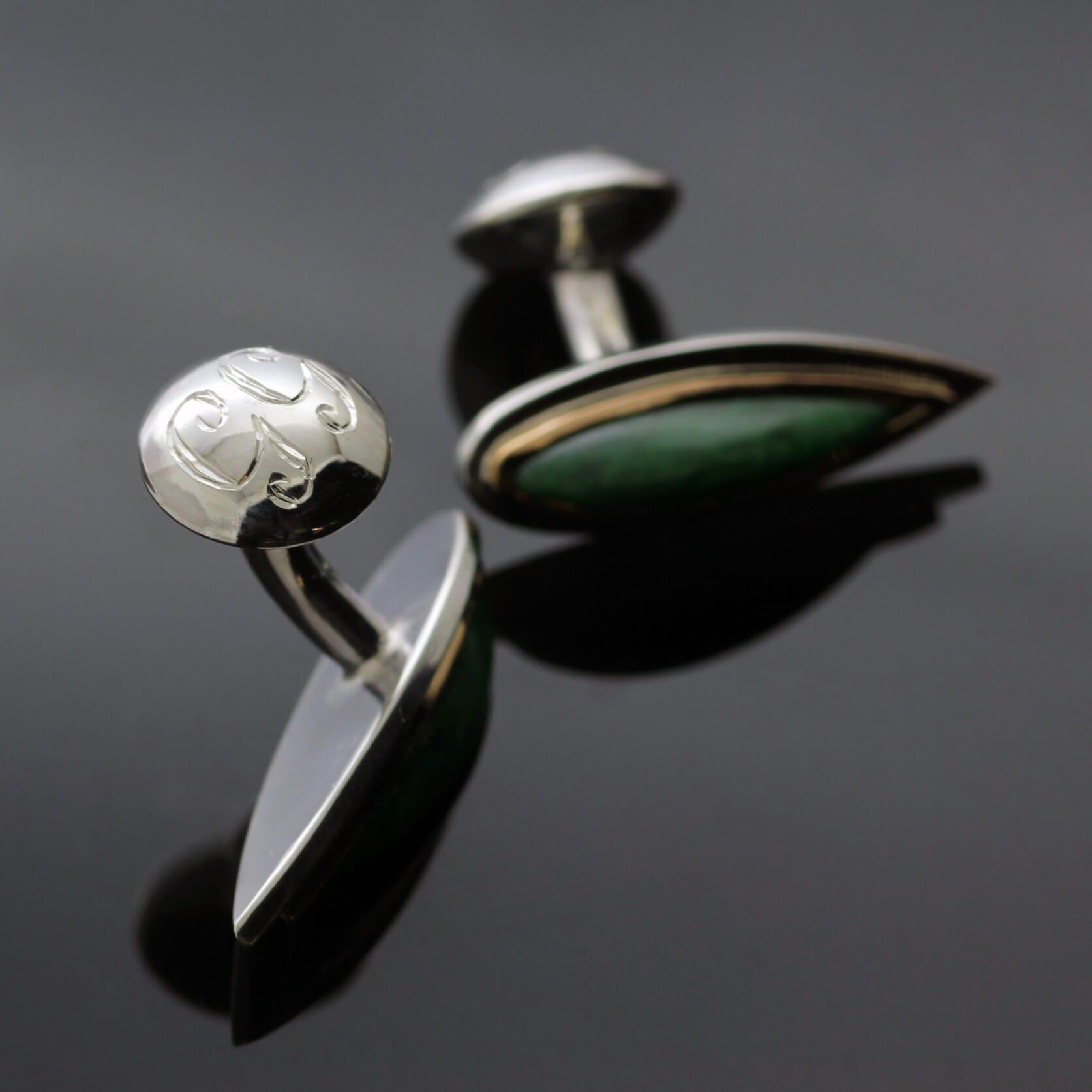 Personalised hand engraved bespoke Jade cufflinks by Julian Stephens Goldsmith