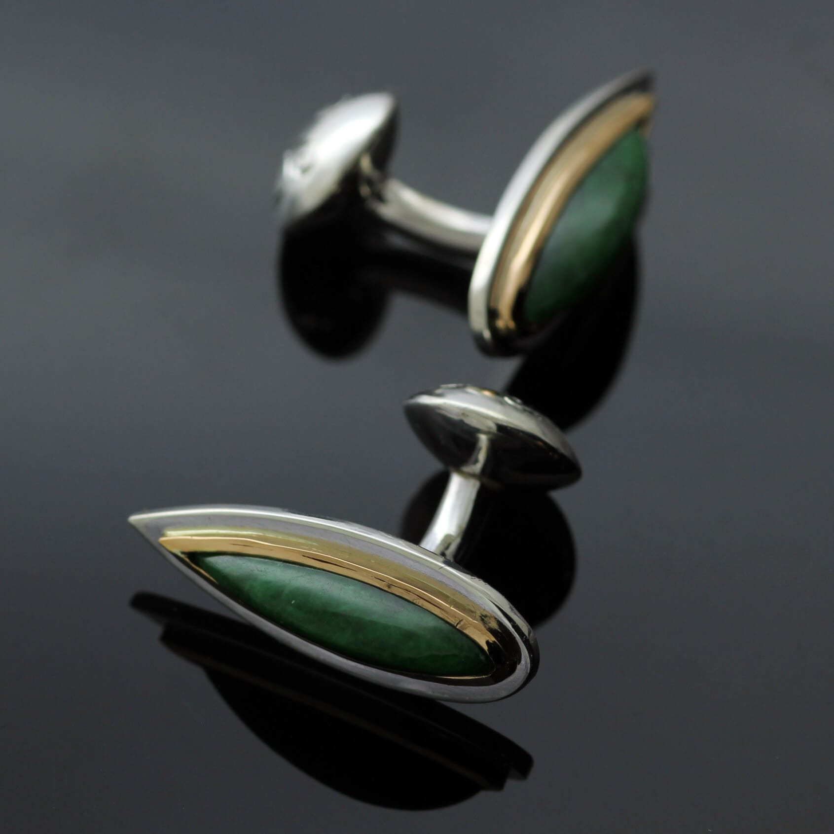 Bespoke Jade and Yellow Gold handmade cufflinks