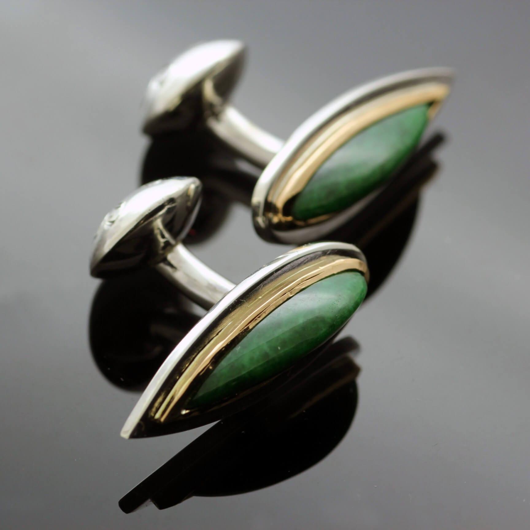 Personalised handmade Jade Yellow Gold Silver cufflinks