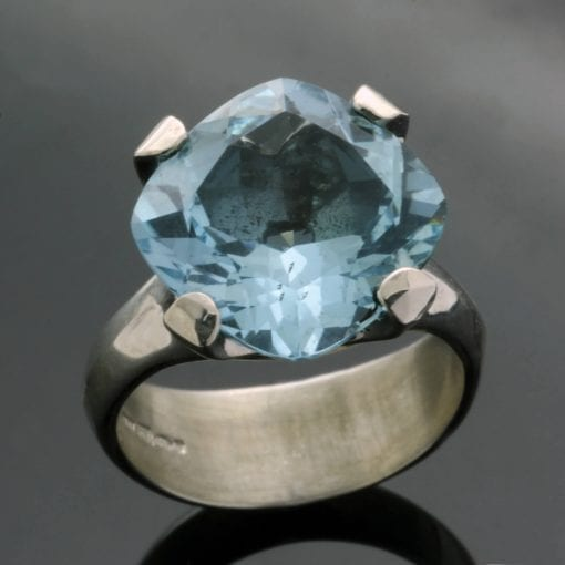 Handcrafted Blue Topaz Sterling Silver statement ring