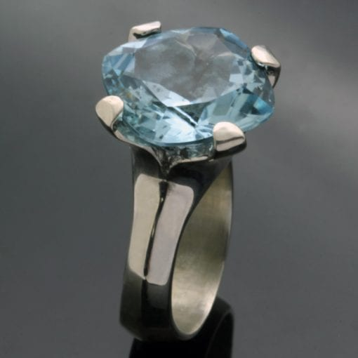 Modern handmade dress ring Silver and Blue Topaz