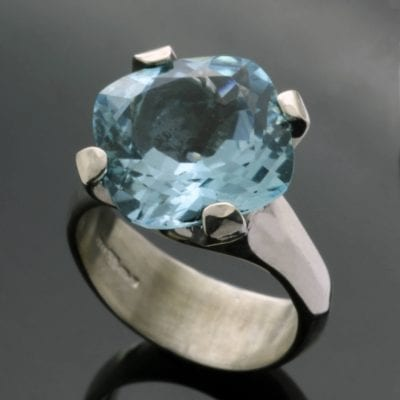 Blue Topaz gemstone Sterling Silver cocktail ring