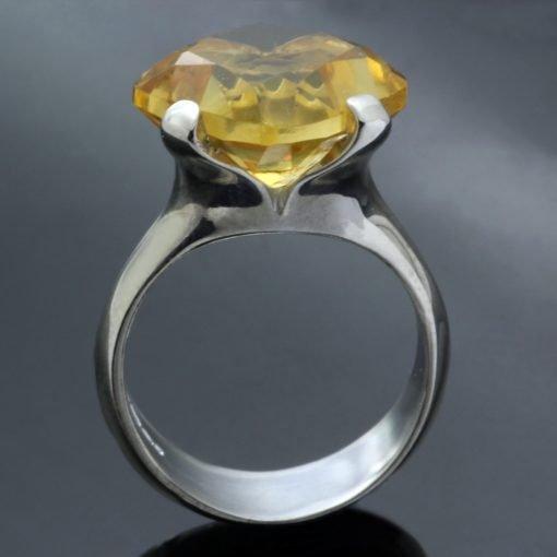 Citrine gemstone Sterling Silver cocktail handmade statement ring